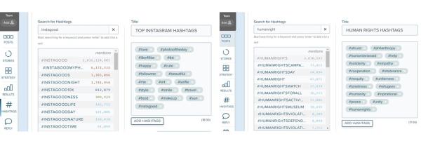 Comparativa Hashtags